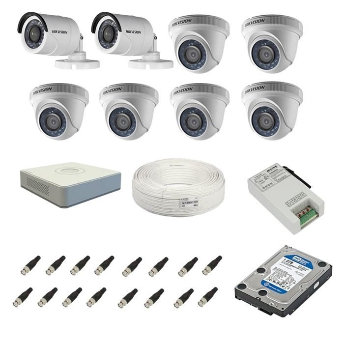 05115b1519ae1 Hikvision CCTV Full HD Camera Kit 2 Bullet 6 Dome with Accessories