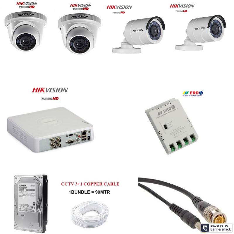 Hikvision 4 cctv camera kit hikvision 1mp cctv camera kit